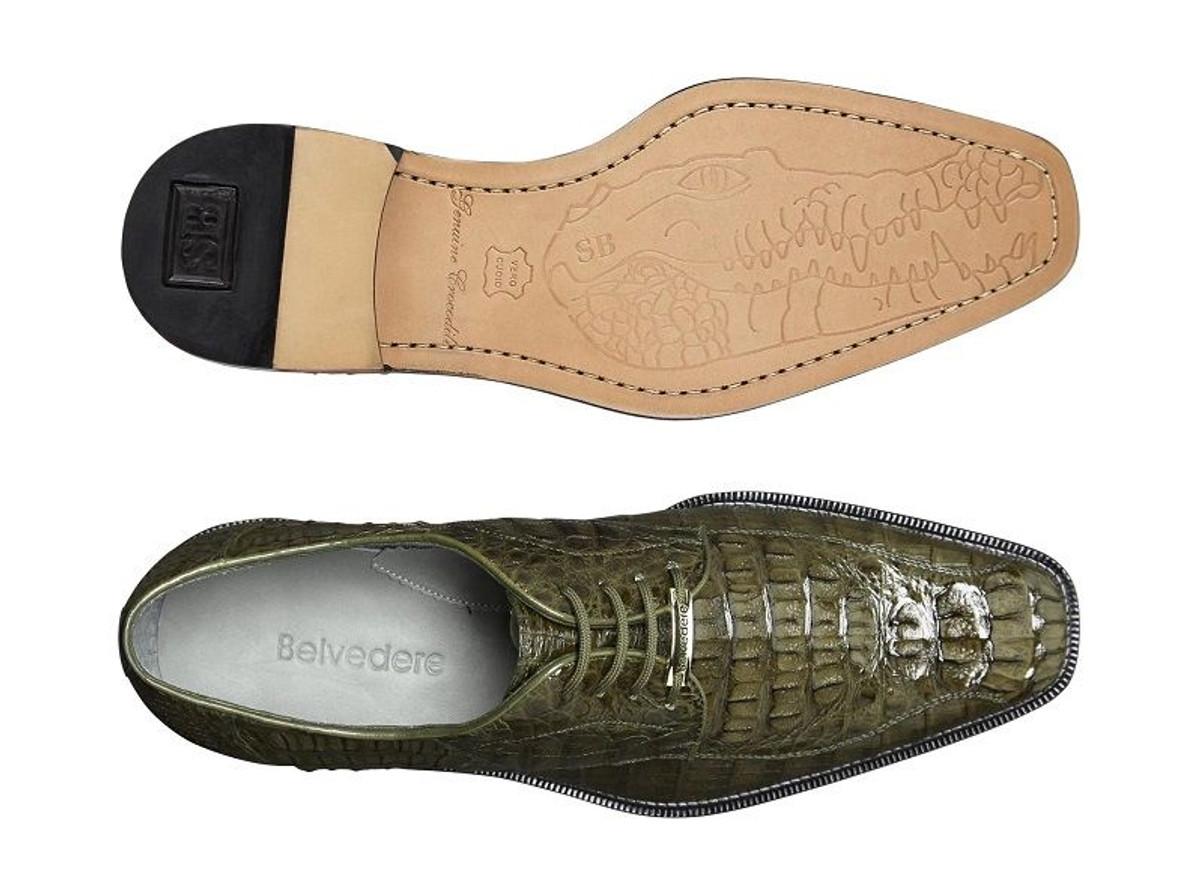 Belvedere Men's Olive Green Crocodile Shoes Chapo 1465
