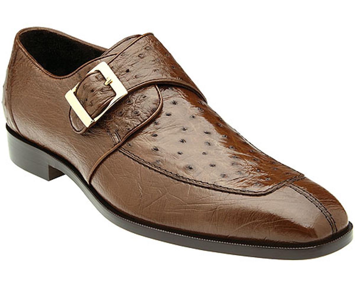Belvedere Mens Brown Ostrich Monk Strap Shoes Josh