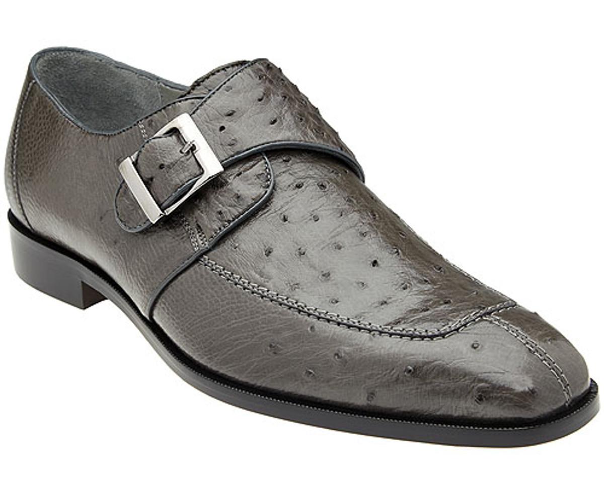 Belvedere Mens Gray Ostrich Monk Strap Shoes Josh