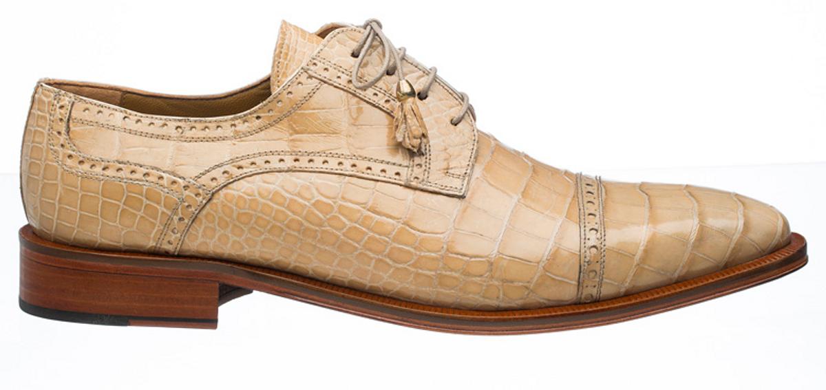 Alligator Shoes Ferrini Mens Dune Tan Cap Toe 216/MONTI