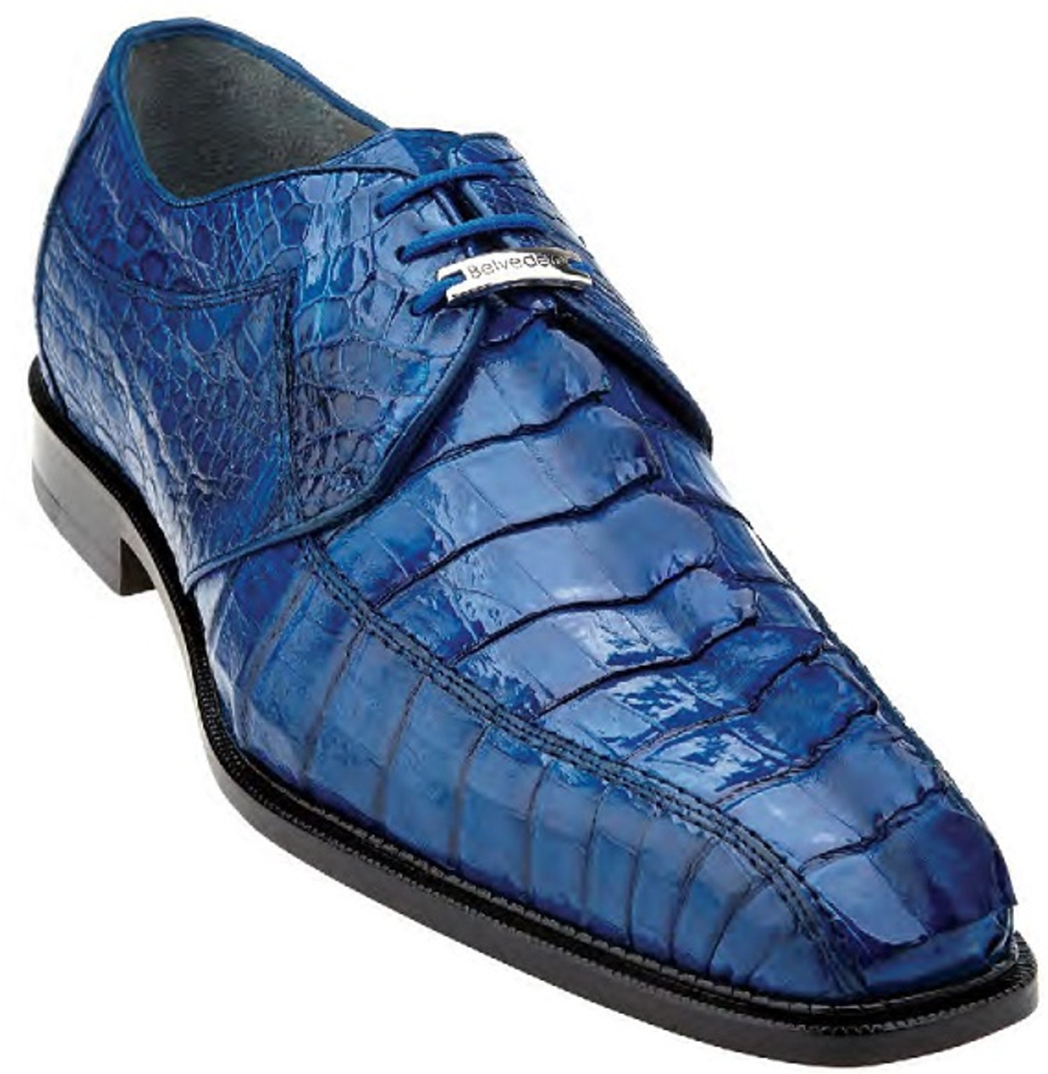 Belvedere Bright Blue Crocodile Shoes Mens Hornback Top Columbo