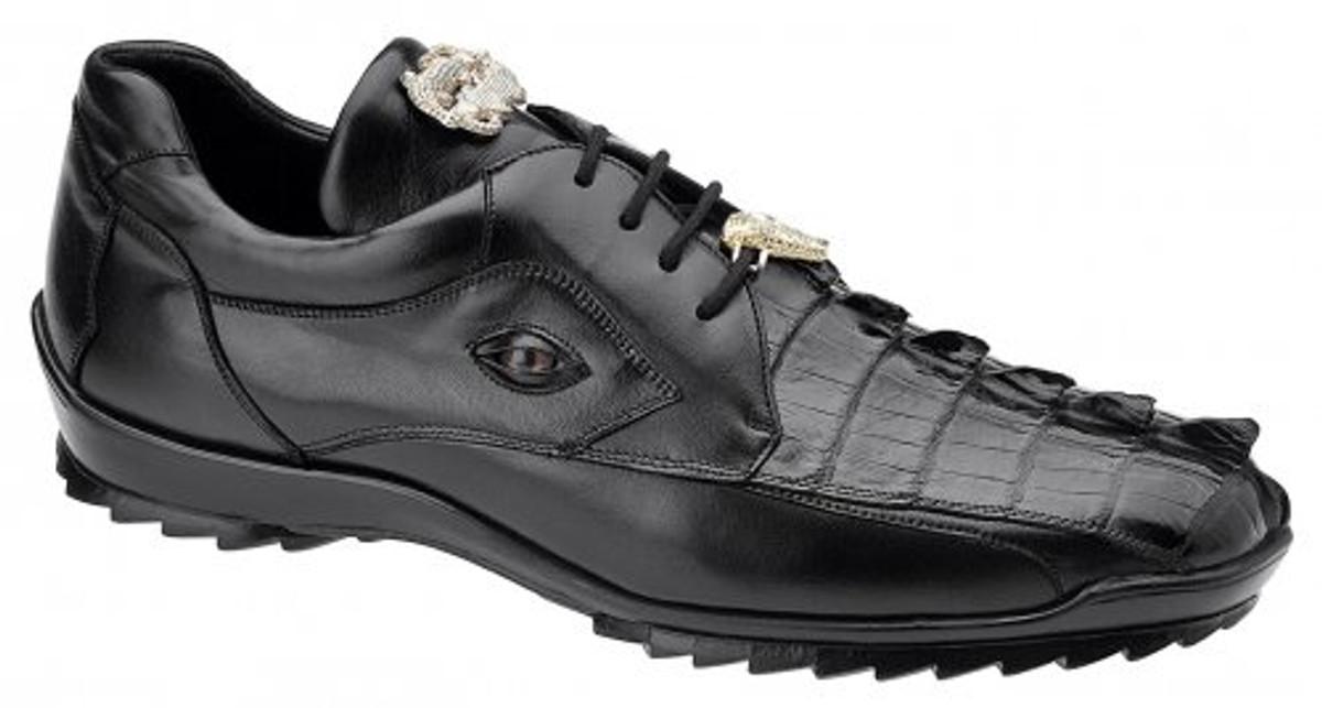 Belvedere Vasco Sneaker Jet Black Genuine Crocodile Hornback 336122