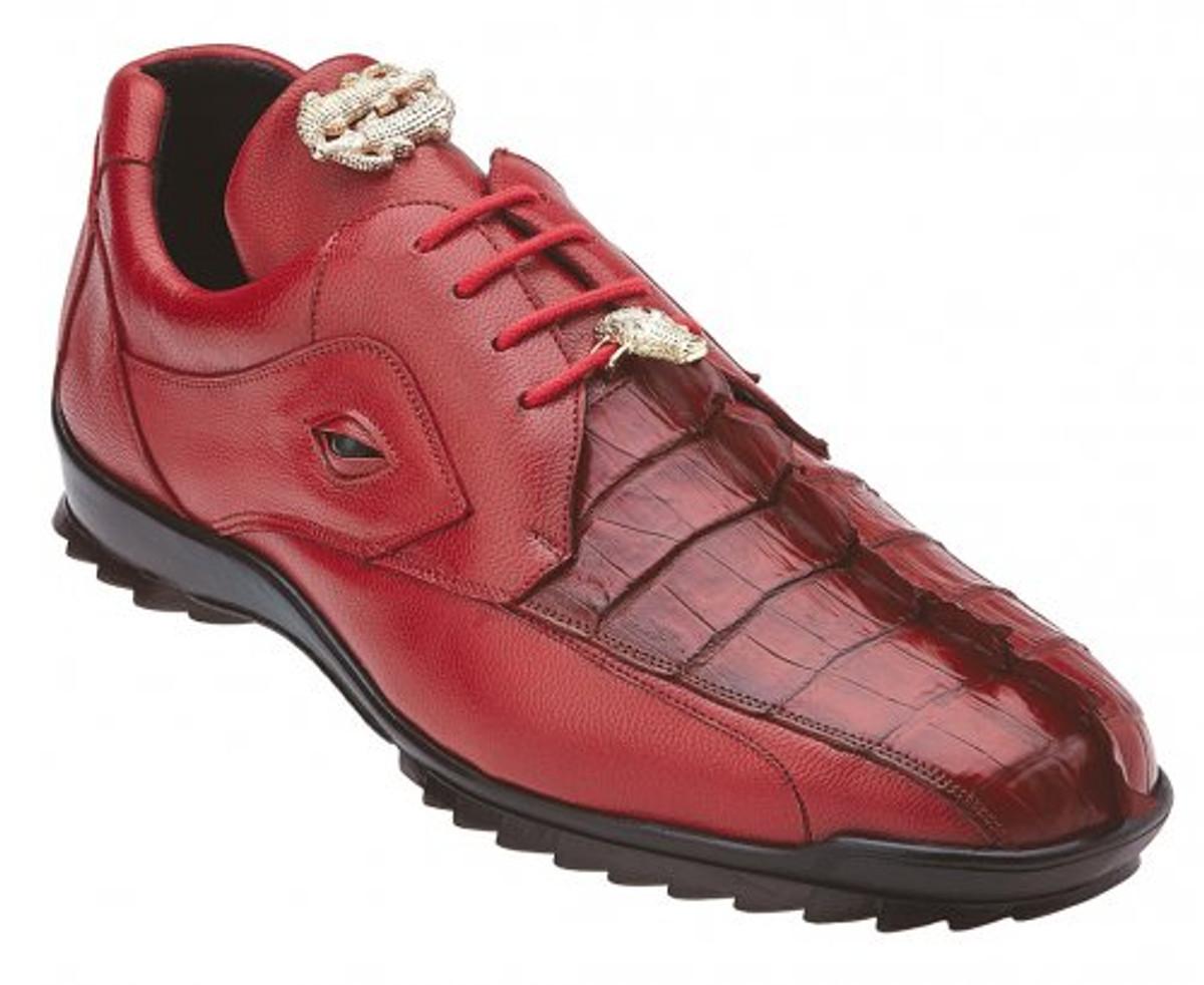 Belvedere Red Fancy Hornback Real Crocodile Unique Looking Sneaker Vasco 336122