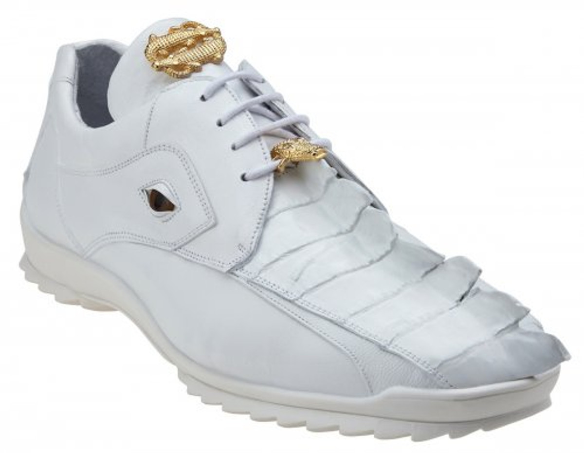 Belvedere White Hornback Unique Crocodile Eye Sneaker Vasco 336122