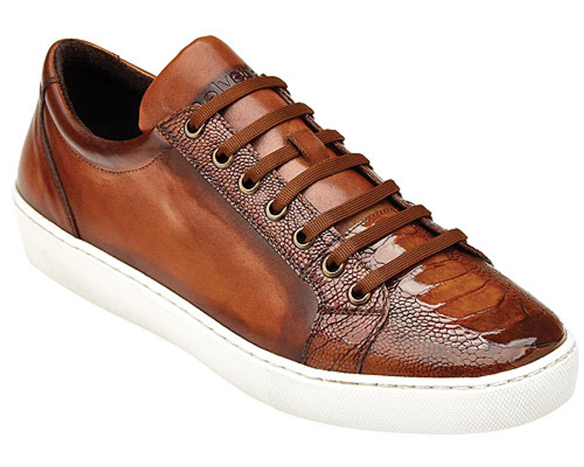 Belvedere Almond Tan Ostrich Leg Exotic Sneakers Anthony Y03