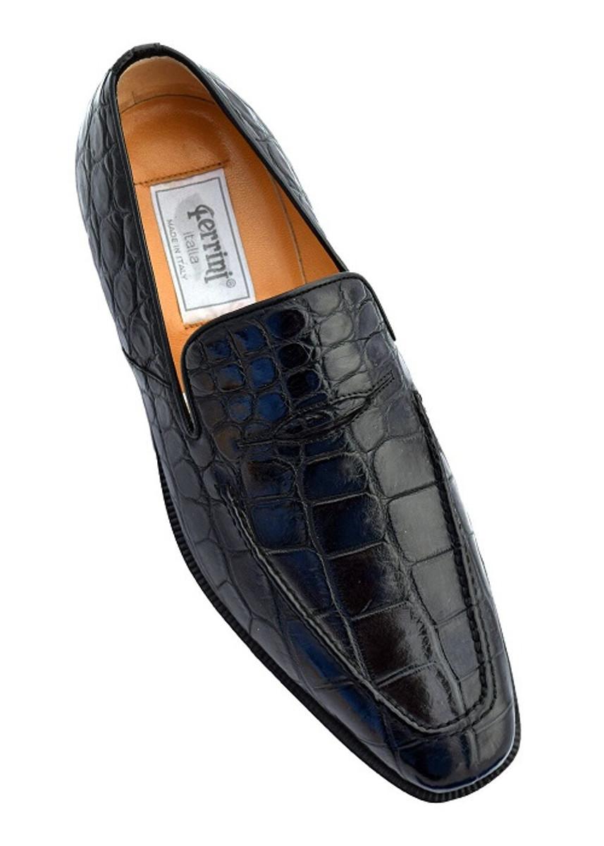 cbb9277e92746 Italian Crocodile Skin Shoes by Ferrini Mens Black Unique Loafers ...