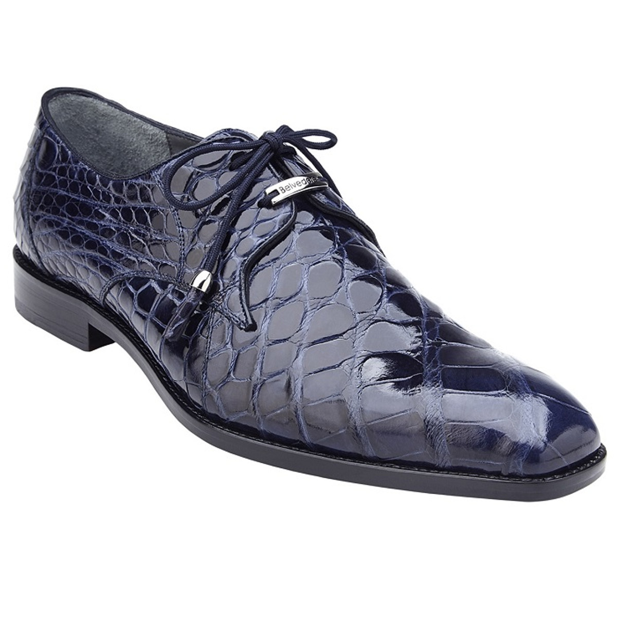 Belvedere Alligator Shoes Mens Navy Clean Toe Style Lago