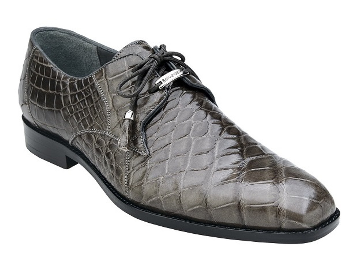 Belvedere Genuine Gray Alligator Shoes Italian Lace Up Lago