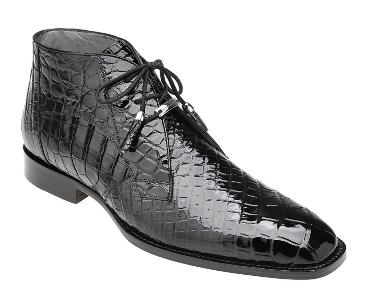 Belvedere Black Alligator Ankle Boots Stefano