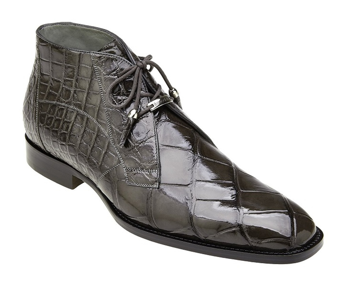 Belvedere Gray Alligator Ankle Boots Stefano