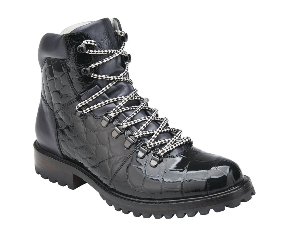 Belvedere Black Alligator Hiking Boots Damian