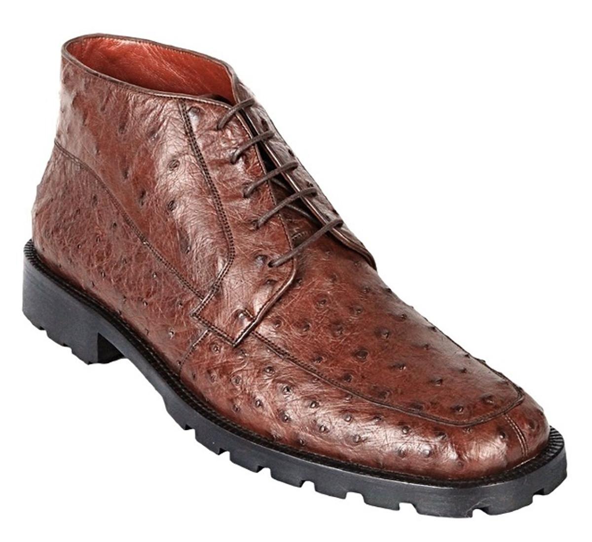 408ef2dc159 Los Altos Mens Brown Ostrich Skin Chukka Boot ZA2060307