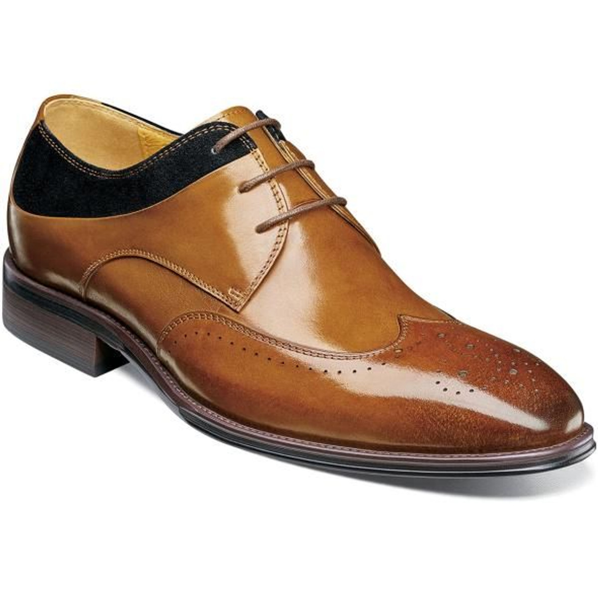 Stacy Adams Dress Shoes Tan Black Leather Wingtip 25314-238 IS