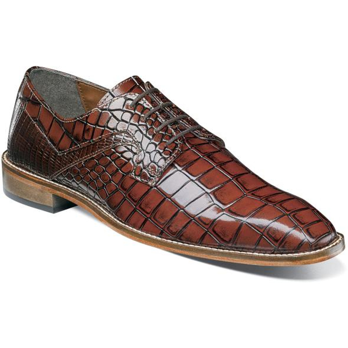 Stacy Adams Cognac Brown Alligator Texture Dress Shoes 25211-229
