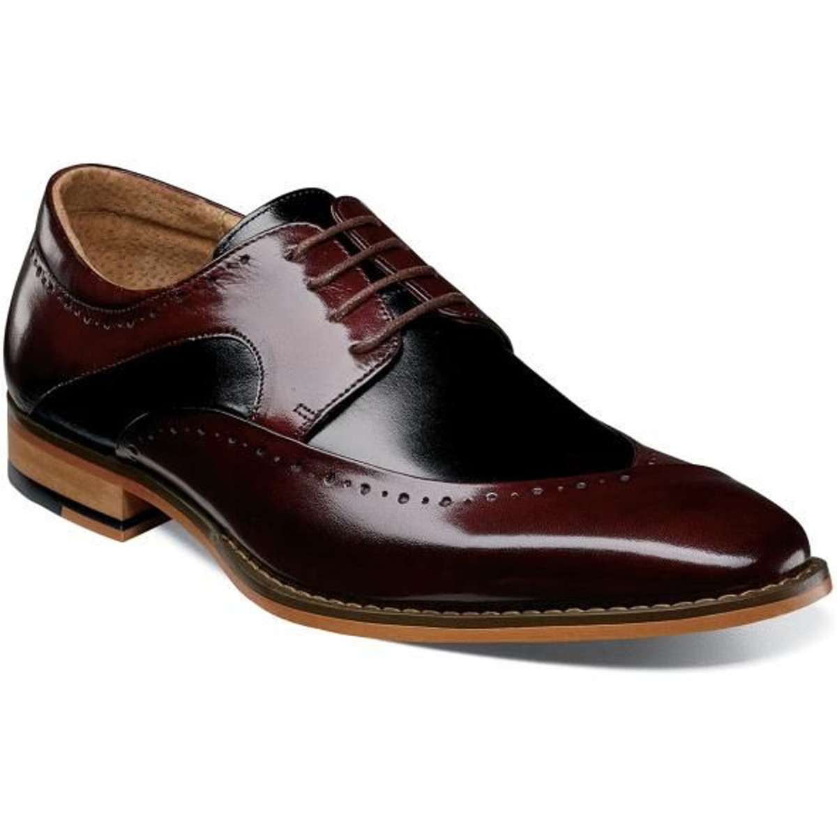 Stacy Adams Dress Shoes Burgundy Black Top 25292-641 IS