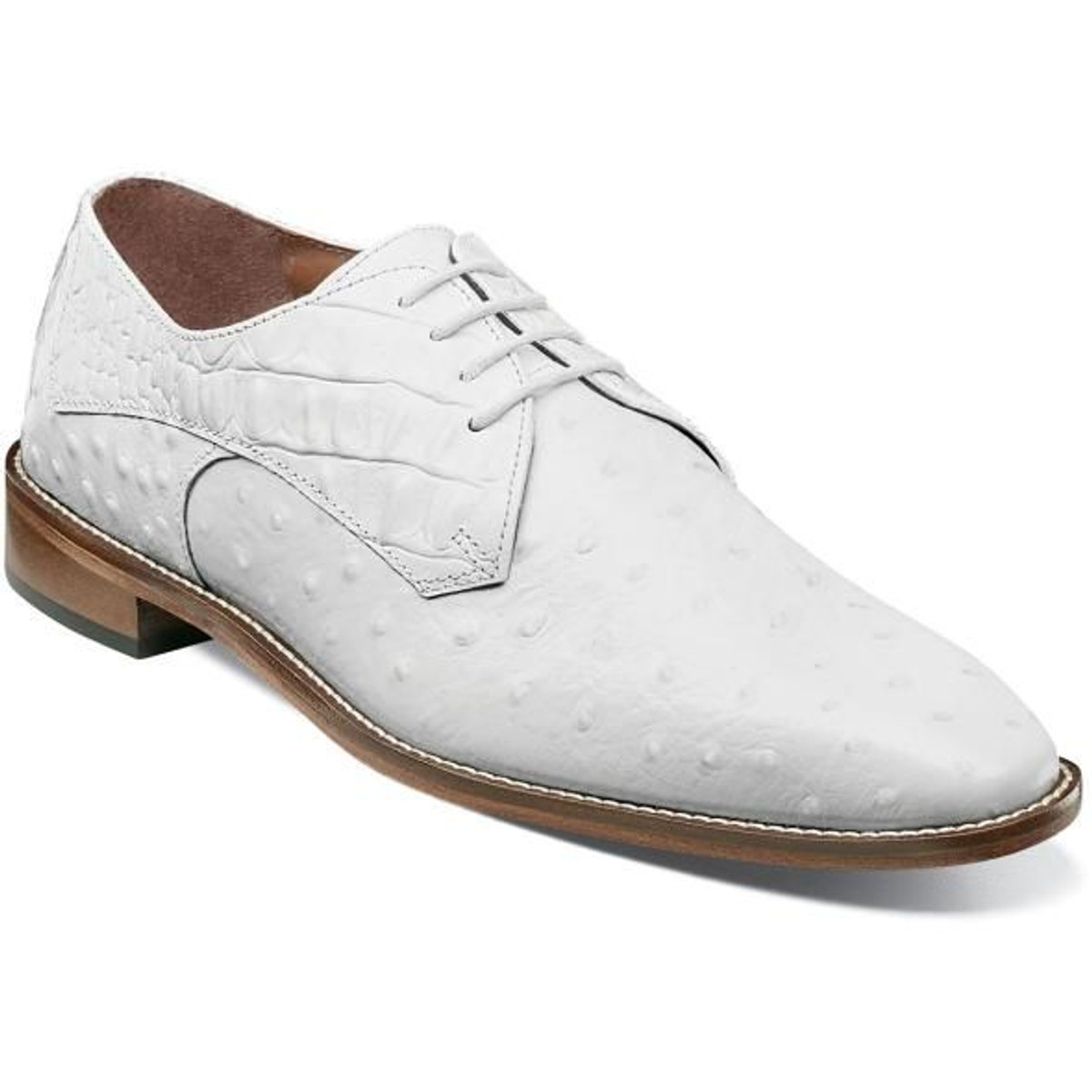 Stacy Adams White Ostrich Print Leather