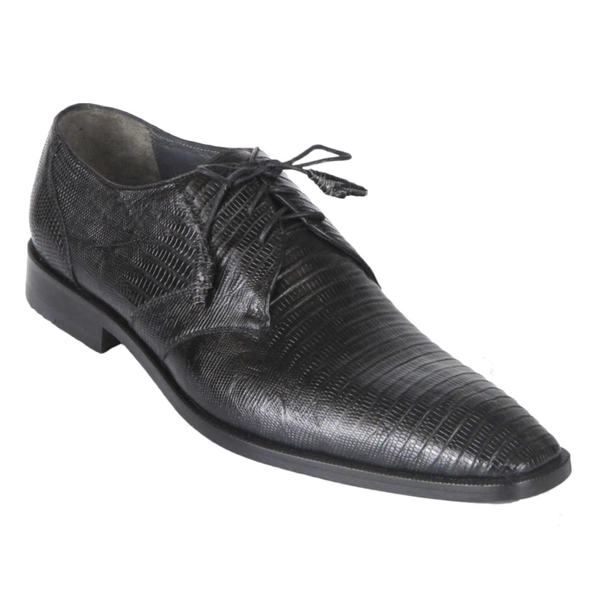 Los Altos Black Lizard Skin Plain Toe Shoes ZV080705