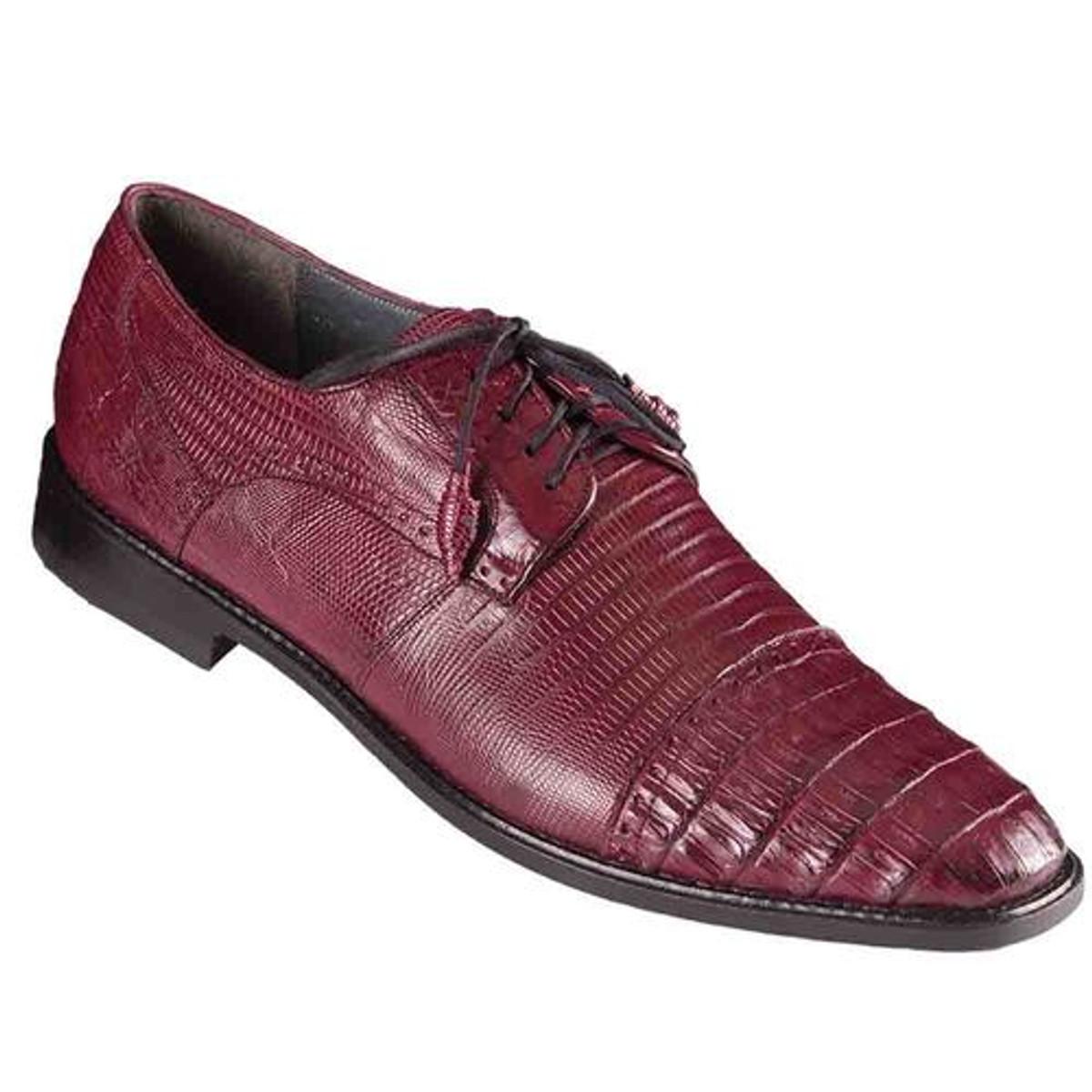 Los Altos Burgundy Lizard Crocodile Cap Toe Shoes ZV093706