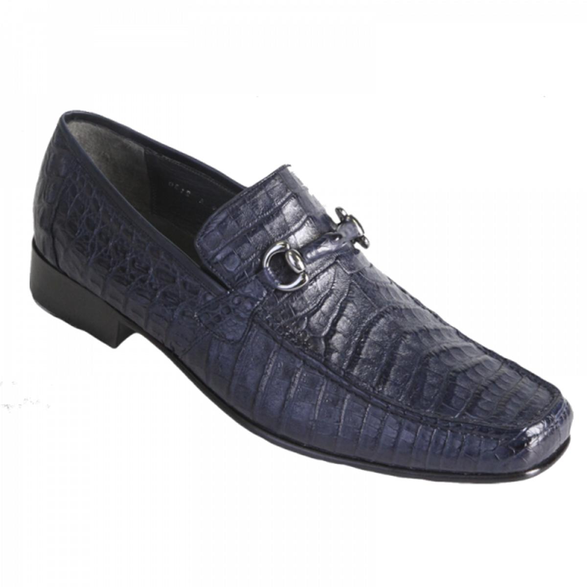 Los Altos Navy Blue Crocodile Metal Bit Loafers ZV108210