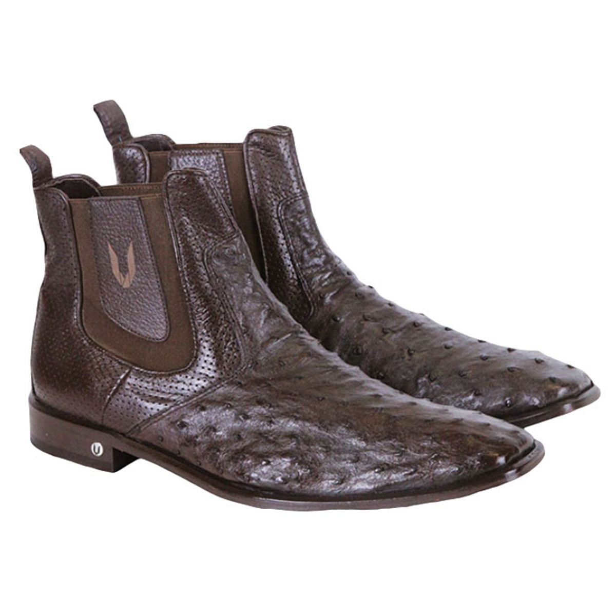 Mens's Ostrich Chelsea Boot Brown Vestigium 7BV010307