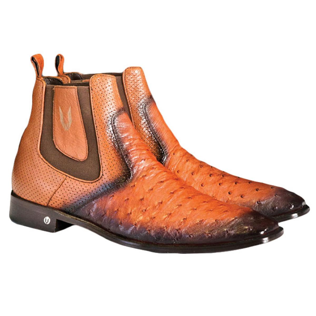 Mens's Faded Cognac Ostrich Chelsea Boot Vestigium 7BV010303F
