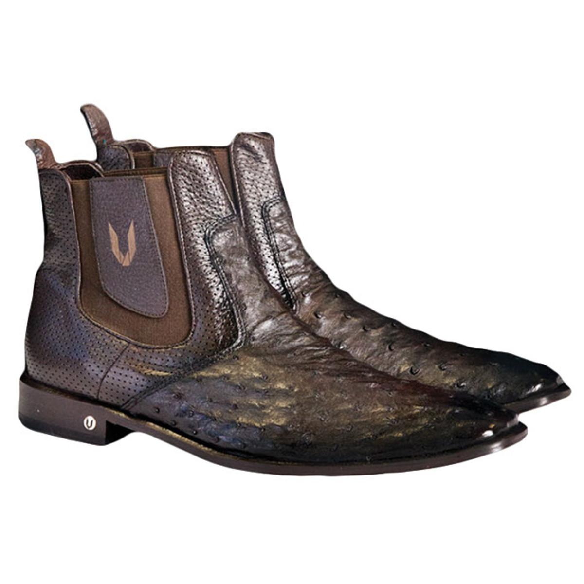 Mens's Faded Brown Ostrich Chelsea Boot Vestigium 7BV010307F
