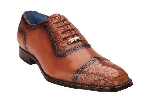 Belvedere Men's Honey Tan Ostrich Skin Cap Toe Corey