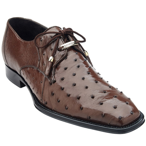 Belvedere Brown Ostrich Shoes Mens Bumpy Texture Isola 14001