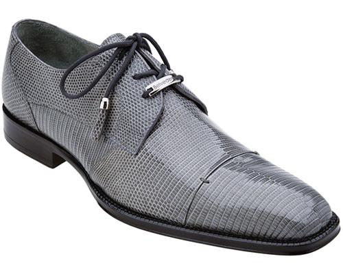 Belvedere Mens Grey Authentic Lizard Skin Exotic Cap Shoes Karmelo 1497