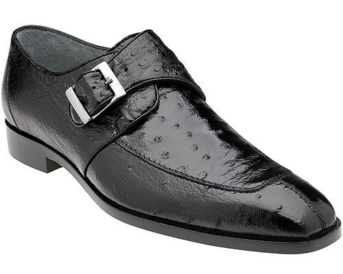 Belvedere Mens Black Ostrich Monk Strap Shoes Josh