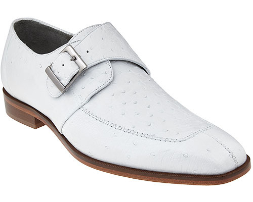 Belvedere Mens White Ostrich Monk Strap Shoes Josh