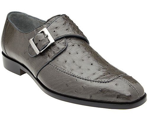 Belvedere Mens Gray Ostrich Monk Strap Shoes Josh