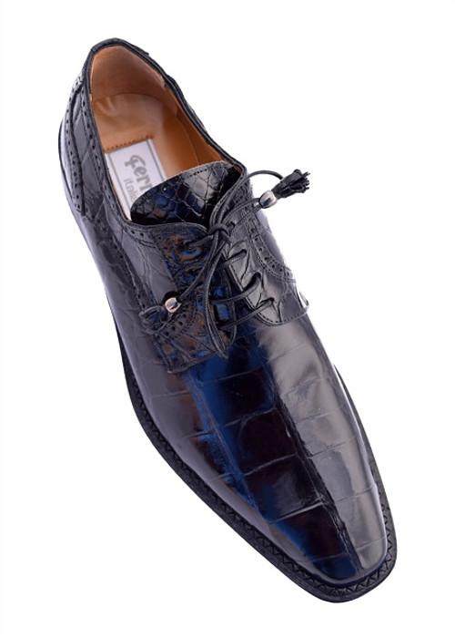 Alligator Shoes Ferrini Men's Black Pointed Toe 214