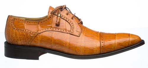 Alligator Mens Shoes Ferrini Light Cognac Color Cap Toe 216/MONTI