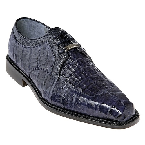 Belvedere Crocodile Skin Leather Shoes Mens Blue Hand Made Susa P32