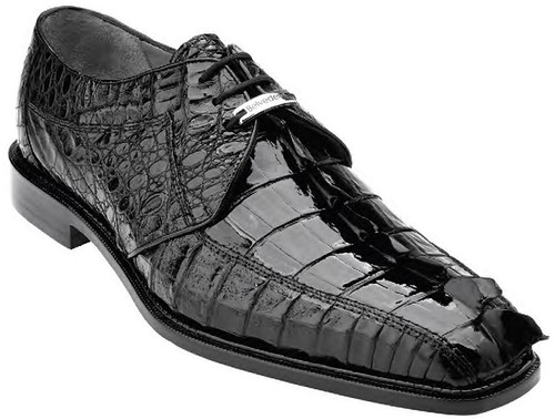 Belvedere Genuine Black  Hornback Crocodile Shoes Columbo