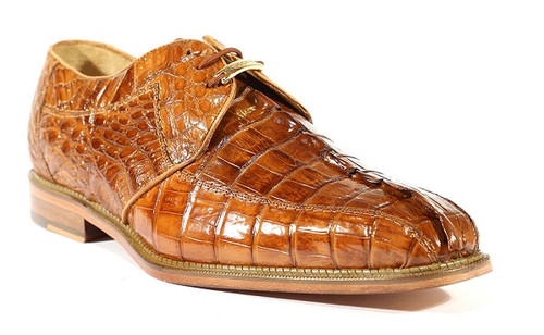 Belvedere Camel Crocodile Mens Shoes Hornback Top Columbo