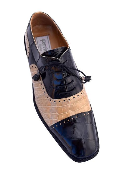 black and beige alligator shoes