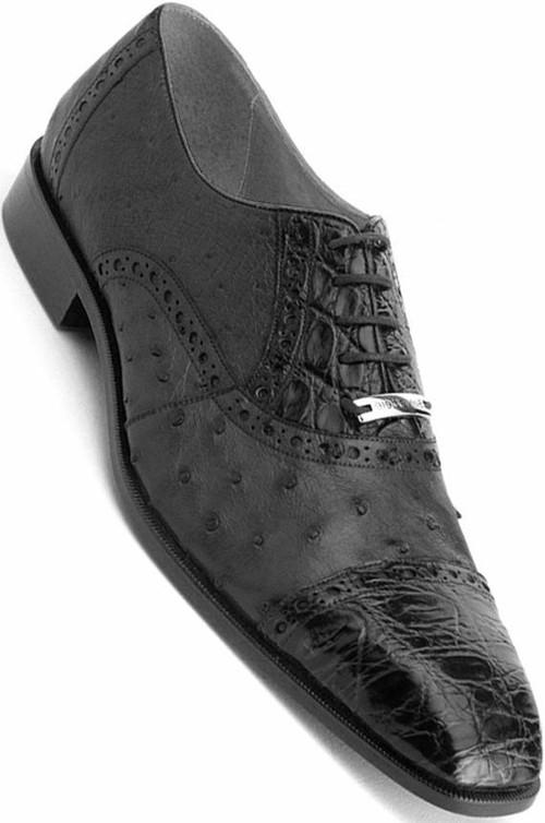 Belvedere Onesto Black Crocodile Ostrich shoes