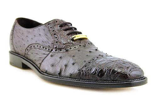 Belvedere Men's Brown Ostrich Crocodile Shoes Cap Toe Onesto