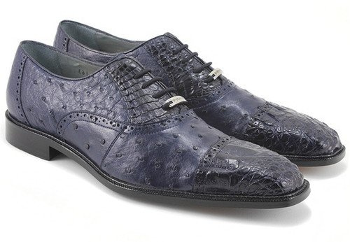 Belvedere Navy Ostrich and Crocodile Cap Toe Shoes Onesto