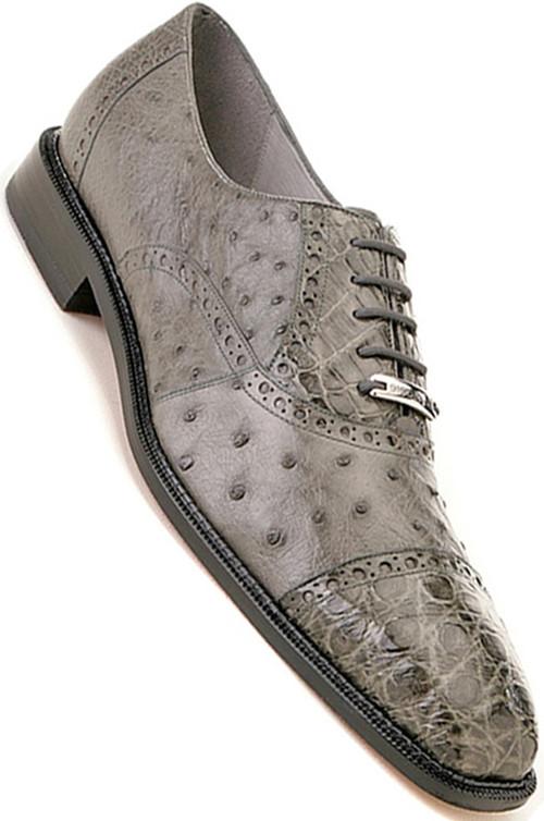 Belvedere Gray Ostrich and Crocodile Shoe Onesto