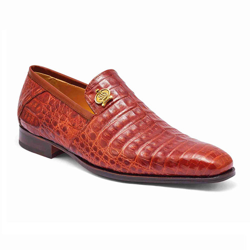 Mauri Crocodile Loafers Shoes Italy Rust Gold Slip Ons Monarch 4912