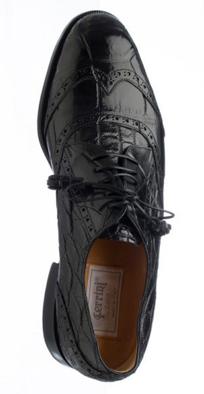 Black alligator belly skin shoes