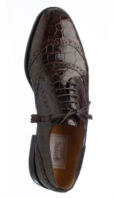 Alligator Belly Shoes Chocolate Brown Mens Wingtip by Ferrini 3673 133 28e7ded9cb0