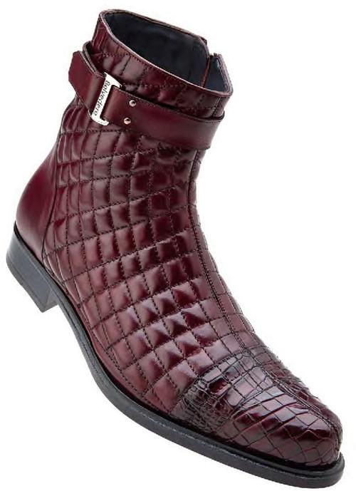 Belvedere Mens Wine Burgundy Exotic Alligator Toe Quilted Boot Libero