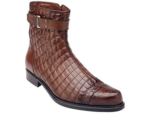 Belvedere Men's Maple Tan Exotic Alligator Toe Diamond Pattern Boot Libero