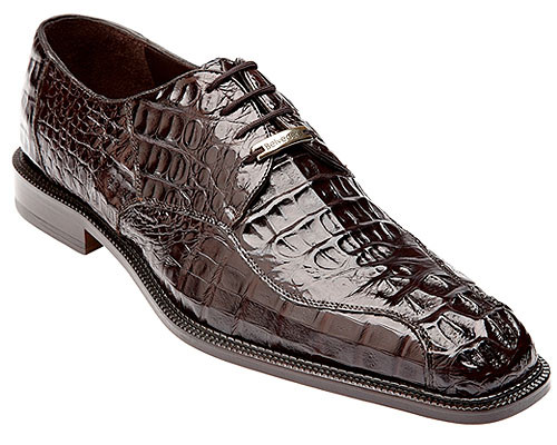 Belvedere Chapo Men's Brown Genuine Crocodile Shoe Oxford Chapo