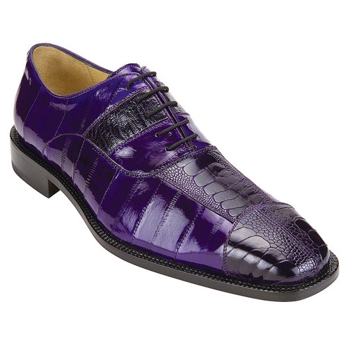Belvedere Shoes Purple Eel Ostrich Skin Oxford Mare 2P7