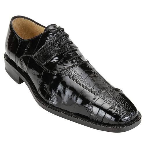 Belvedere Shoes Black Shiny Eel Skin Ostrich Leg Lace Up Mare 2P7